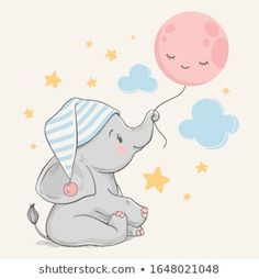 Portfolio di foto e immagini stock di Helga Gavrilova Baby Elephant Drawing, Baby Elephant Nursery, Cute Baby Elephant, Baby Drawing, Clipart Baby, Elephant Illustration, Cute Illustration, Cute Animal Drawings, Cute Drawings