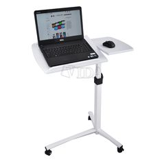 Angle Height Adjustable Rolling Laptop Desk Over Bed Hospital Table Stand | eBay