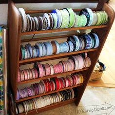 Ribbon organizing- shoe rack or old DVD rack if you have one!