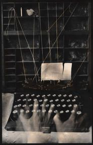 """Lauren E. Simonutti, Writer's block, 2010 From the 8 Rooms 7 Mirrors 6 Clocks 2 Minds and 199 Panes of Glass series 7 x 5"""" toned gelatin silver contact print"""