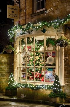 Pretty Christmas decorated shop front More