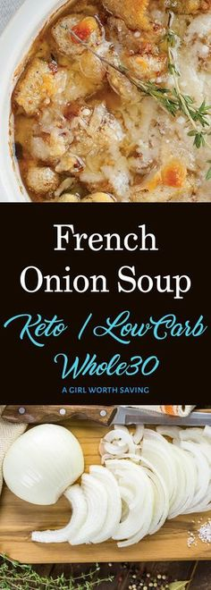 Looking for a Keto French Onion soup that is simple, yet packed with flavor? This recipe is keto comfort food defined and you will love the pork rind croutons! via Keto Paleo Healthy Recipes, Low Carb Recipes, Soup Recipes, Diet Recipes, Whole30 Recipes, Onion Recipes, Vegetarian Recipes, Keto Foods, Ketogenic Recipes