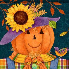 Scarecrow Pumpkin House Flag to welcome guests and by JoyHallArt