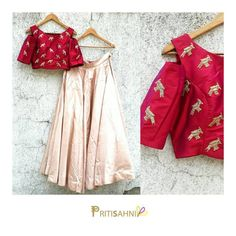 A perfect spring outfit for a resort wedding party in this pretty silk crop top and skirt with signature birds embroidery by Priti Sahni. For more information Whatsapp on 09 May 2017 Indian Lehenga, Red Lehenga, Lehnga Dress, Lehenga Blouse, Lehenga Choli, Lehenga Skirt, Anarkali, Sarees, Lehenga Designs