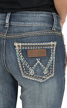 Wrangler Retro Women's Dark Wash with Open Pockets Sadie Low Rise Boot Cut Jeans | Cavender's