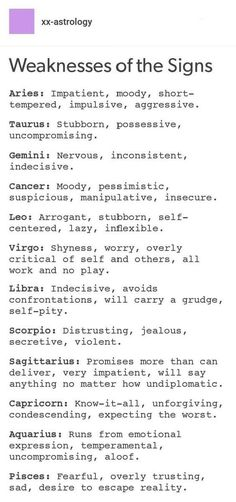 Weaknesses of the Signs