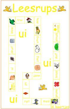Dubbelklanken ui - Digibord Onderbouw Book Letters, Letter G, Spelling, Homeschool, Language, Teaching, Writing, Logos, Kids