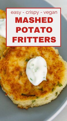 These easy Mashed Potato Fritters are the best way to use up leftover mashed potatoes! Easy crispy potato pancakes that have just 2 main ingredients - mashed potatoes and flour! These vegan mashed potato patties make a great snack for kids, a tasty side dish, or an amazing breakfast or brunch recipe when served with a fried egg. If you're looking for leftover holiday recipes, leftover mashed potato recipes, or simply for a new kid friendly recipe, give these potato fritters a try! Mashed Potato Fritters Recipe, Fried Mashed Potato Patties, Leftover Mashed Potato Pancakes, Fried Mashed Potatoes, Mashed Potato Cakes, Mashed Potato Recipes, Easy Potato Pancakes, Basic Mashed Potatoes, Leftover Potatoes