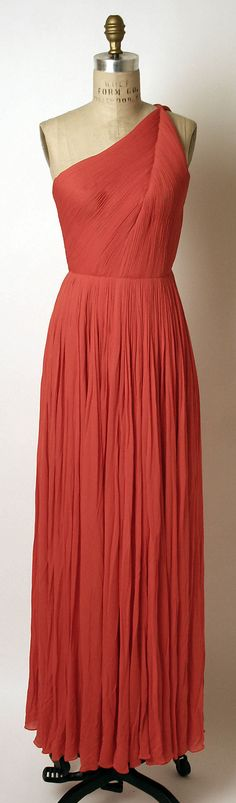 Madame Grès (Alix Barton)  (French, 1903–1993). Dress, Evening, 1960s. French. The Metropolitan Museum of Art, New York. Gift of Mrs. Oscar de la Renta, 1994 (1994.192.11) #reddress
