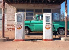 Its my old 1960 Chevy pickup parked at my old abandoned Magnolia gas station. Vintage Gas Pumps Groom Texas