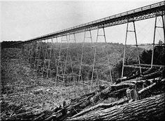The Kinzua Viaduct Here is another scene showing the recently completed original bridge spanning the Kinzua Creek Valley, circa 1885.
