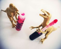 I hate it when velociraptors get into my lip gloss! From a wee but rad photoshoot over at theglamourai.com.
