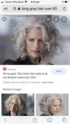 Grey Curly Hair, Silver Grey Hair, Short Grey Hair, Grey Hair Styles For Women, Medium Hair Styles, Curly Hair Styles, Grey Bob Hairstyles, Grey Hair Looks, Transition To Gray Hair