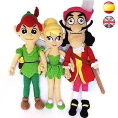 Peter Pan, Campanilla y Capitán Garfio | Sueños Blanditos - Patrones Amigurumi