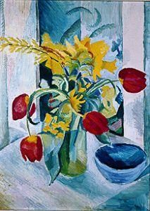 size: Giclee Print: Still life with Tulips by Auguste Macke : Entertainment This exceptional art print was made using a sophisticated giclée printing process, which deliver pure, rich color and remarkable detail. Flower Painting, German Expressionist, Fine Art, Floral Art, Still Life, Painting, August Macke, Art, German Art
