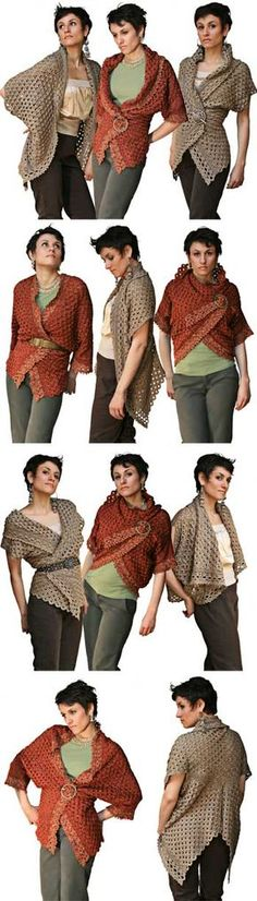 """Endless Crochet Cardi Shawl"", pattern by Jennifer Hansen at Stitch Diva Studios. Got to make this!"
