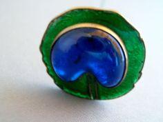 AUTHENTIC ANTIQUE GREEN ENAMEL & BLUE STONE HATPIN