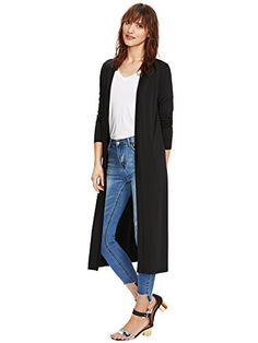 3db9b75a94e7 Verdusa Women s Long Sleeve Open Front Long Maxi Cardigan Longline Duster  Coat Black S