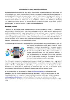 Essential Guide To Mobile Application Development by Software | Web & Mobile Apps Development Company via slideshare