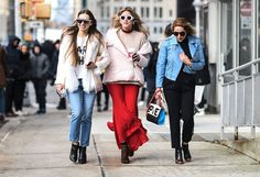 NEW YORK, NY - FEBRUARY 13:  Elineya, Fer Medina and Theresa Balderas are seen outside of the 3.1 Phillip Lim show during New York Fashion Week: Women's Fall/Winter 2017 on February 13, 2017 in New York City.  (Photo by Daniel Zuchnik/Getty Images) via @AOL_Lifestyle Read more: https://www.aol.com/article/lifestyle/2017/02/14/nyfw-street-style-day-5/21713878/?a_dgi=aolshare_pinterest#fullscreen