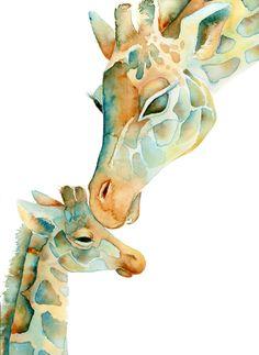Sun Baby PRINT 8x10 inch Giraffe Mom and by PinkPoppyWatercolors, $17.00