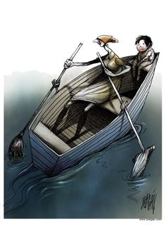 Angel Boligan - El Universal, Mexico City, www.caglecartoons.com - Single Mother - English - Woman, son, mother, mom, single, boat, broom, c...