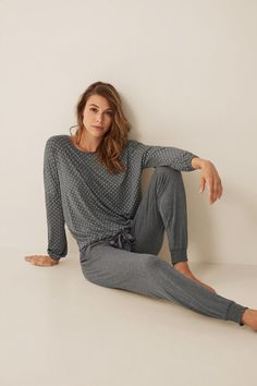 Pyjamas with long baggy trousers and matching original long-sleeved top, gathered at the bottom with tie detail. Baggy Trousers, Pajamas Women, Pyjamas, Nightwear, Night Gown, Lounge Wear, Long Sleeve Tops, Underwear, Skor