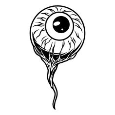 Monochrome Detached Eye with vessels vector illustration. Find awesome Halloween apparel designs collection on www.dgimstudio.com. High quality, ready to be printed on any items and surfaces. #halloween #eye #detached #illustration #vectorillustration