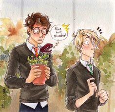 drarry, fanart, harry potter, hogwarts, draco malefoy