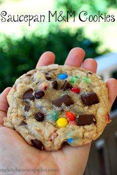 Saucepan M & M Cookies - No heavy mixer needed to create these decadent monster cookies!