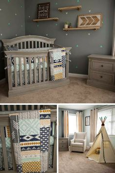 Baby Bedding Aztec Ikat! I am in love with this whole room! Next Nursery!! #nursery #decor #ad #ikatprint #decor