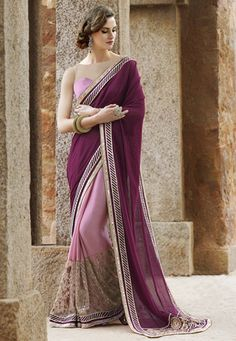 Half N Half Net and Chiffon Saree in Magenta and Lilac