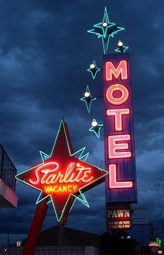 Starlight Motel neon sign - (mid century modern, space era, atomic age, design, outdoors)