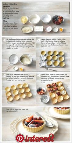 60 Sweet Wedding Finger Food Ideas And Mini Desserts; Tart Recipes, Sweet Recipes, Baking Recipes, Dessert Recipes, Healthy Recipes, Fruit Tartlets, Mini Fruit Tarts, Mini Tartlets, Mini Cakes