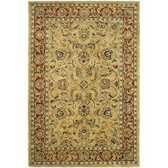 "Safavieh Classic Collection CL398A Handmade Traditional Oriental Gold and Red Wool Area Rug (9'6"" x 13'6"")"