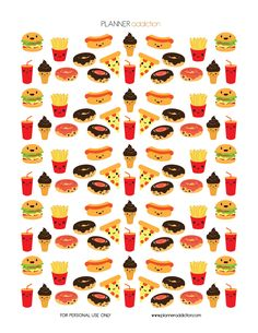 Fast Food Kawaii  Description: The sheet of this printable planner stickers size is 8.5″ x 11″ inches 1 ZIP file containing 1 JPG file, 1 PDF file & 1 Silhouette cut file. (300dpi)        Materials ne