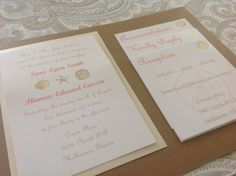 These wedding invitations are handmade and can be customized for your beach themed wedding!  The ceremony card is mounted onto a card stock color to