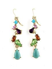 #MYTRENDTWOWARDROBE Multi Drop Gemstone Gold Earrings a bit of colour and sparkle to brighten up dull days