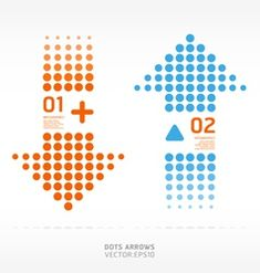 dots arrows orange and blue color vector