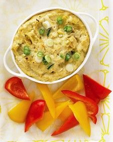 Nothing pleases party guests like a hot artichoke dip. We upgraded this Martha Stewart artichoke dip recipe by adding extra veggies and subtracting the extra fat so you can scoop up this indulgence guilt-free. Prep couldn't be easier: Just combine ingredi Shower Appetizers, Hot Appetizers, Vegetarian Appetizers, Appetizer Dips, Appetizer Recipes, Vegetarian Recipes, Healthy Recipes, Vegetarian Kids, Appetizer Party