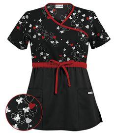UA Let's Fall In Love New Empire Mock Wrap Scrub Top Style # UA968FIB  #uniformadvantage #uascrubs #love #black #scrub #scrubtop