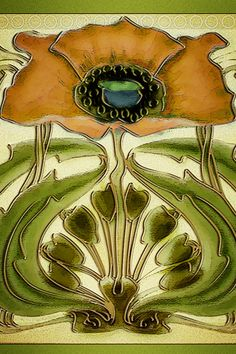 Art Nouveau Tile Wallpaper, texturecrazy/cathairstudios