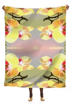 Silk scarf, Yellow Orchid Pattern from Print All Over Me
