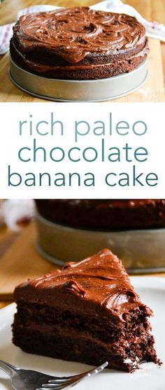 Rich and decadent, this paleo chocolate banana cake is the perfect dessert for friends who don't think paleo desserts can be delicious! #paleo #chocolate #banana #chocolatecake #dessert #glutenfree #dairyfree #refinedsugarfree #honeysweetened Paleo Cake Recipes, Primal Recipes, Paleo Treats, Best Dessert Recipes, Paleo Dessert, Gluten Free Desserts, Healthy Desserts, Fun Desserts, Real Food Recipes
