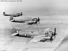 Beaufighter A19-77  WAGGA WAGGA, NSW, 1942-12-09. THREE BEAUFIGHTER AIRCRAFT OF  NO. 5 OPERATIONAL TRAINING UNIT FLYING IN FORMATION OVER THE  COUNTRYSIDE. THEY ARE LED BY SQUADRON LEADER BRUCE FREDERICK ROSE DFC  AND THE OTHER PILOTS ARE FLIGHT LIEUTENANT R.L. GORDON; AND 407223  FLIGHT SERGEANT A.F. CATT.