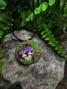 Toadstool Pendant  Polymer Clay Quartz Mushroom Wicca Magic