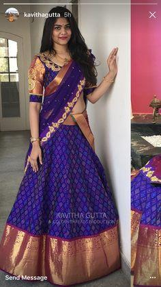 saree blouse sarwal at DuckDuckGo Half Saree Designs, Blouse Designs Silk, Lehenga Designs, Dress Designs, Mehndi Designs, Half Saree Lehenga, Lehnga Dress, Sari, Lehanga Saree