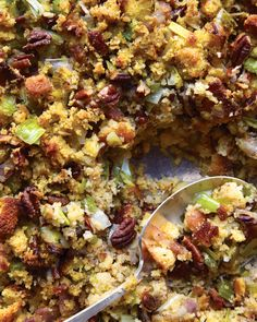 Corn Bread, Bacon, Leek, and Pecan Stuffing | Martha Stewart Living - This stuffing is brimming with traditional holiday flavors, including leeks, herbs, and pecans.
