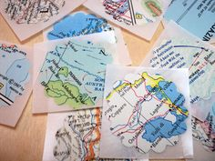 Scalloped Map Stickers or Seals. $2.35, via Etsy. for SIX