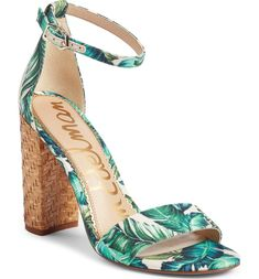 Sam Edelman Yaro Ankle Strap Sandal in Blue/green. Modern and minimalist, an essential ankle-strap sandal set on a chunky wrapped heel serves as a versatile go-to style. Wedge Boots, Shoes Heels Boots, Heeled Boots, Women's Heels, High Heels, Sam Edelman Heels, Cute Sandals, Ankle Strap Sandals, Block Heels